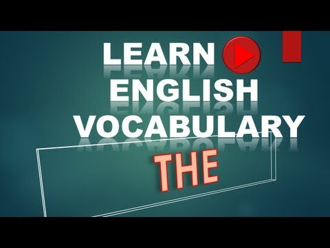 Learn English Vocabulary #4 THE