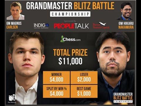 GM Carlsen vs GM Nakamura Blitz Battle Championship Chess.com 2016