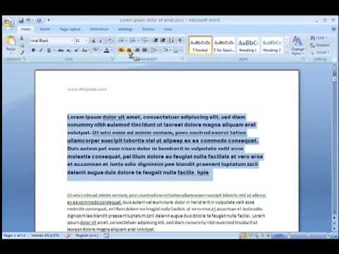 Word 2007 - How to change text alignment and formatting