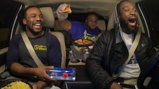 Big E hand feeds Kofi so he can drive on WWE Ride Along (WWE Network Exclusive)