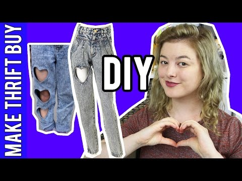 DIY Heart Cutout Jeans   Make Thrift Buy #47