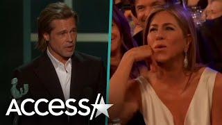 Jennifer Aniston's Reaction To Brad Pitt Joking About Marriage In SAG Speech Is Priceless