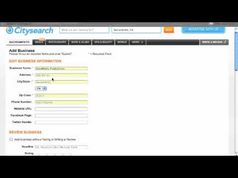 How to create a business listing at CitySearch.com