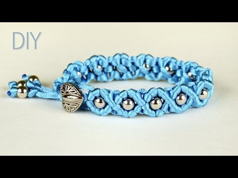 DIY Easy Wave Bracelet with Satin Cord and Beads
