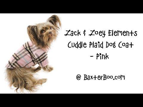 Zack & Zoey Elements Cuddle Plaid Dog Coat - Pink