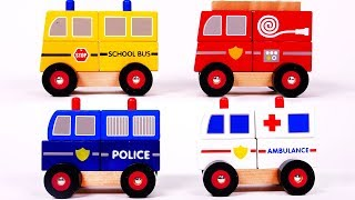 Learn Colors with Toy Car Vehicles for Children Including Police Car School Bus Ambulance
