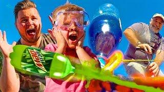 KIDS EXPERIMENT WITH DIY SODA BOTTLE ROCKET LAUNCHER CRAFT!