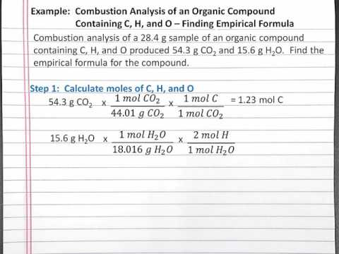 CHEMISTRY 101:  Finding Empirical Formula Using Combustion Analysis for a Compound with C, H, O