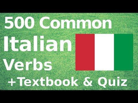 500 Most Common Italian Verbs +Textbook & Quiz