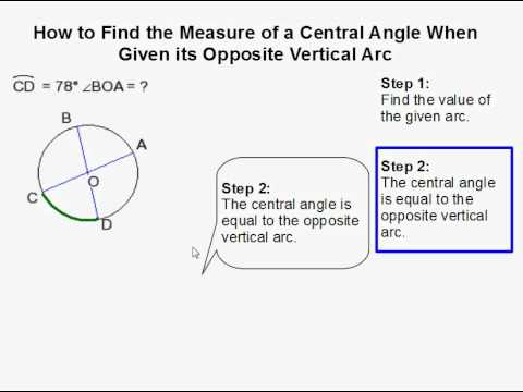 How to Find the Measure of a Central Angle When Given its Opposite Vertical Arc
