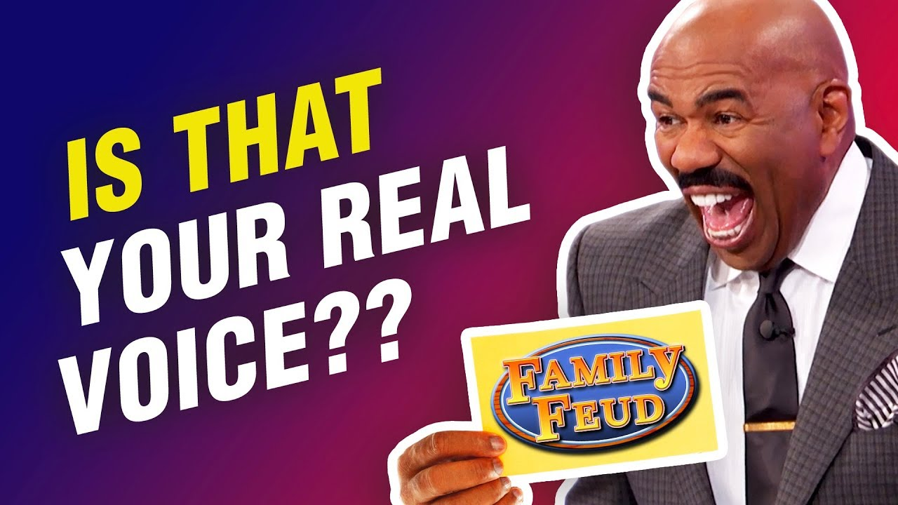 Steve Harvey CRACKED UP hearing these voices on Family Feud!