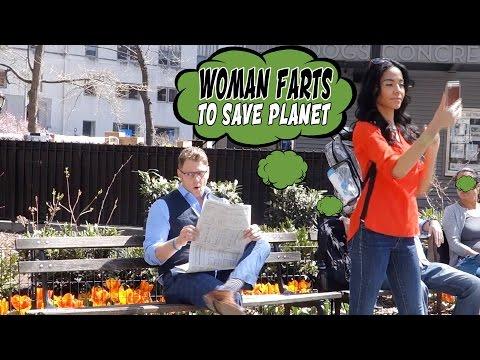 Woman Farts To Save Planet - Global Warming Awareness