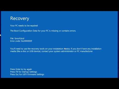 The Boot Configuration Data For Your PC Is Missing Or Contains Errors