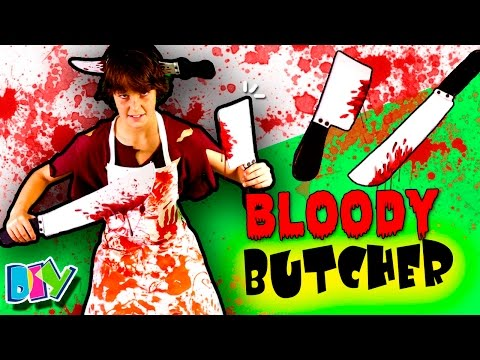 DIY BLOODY BUTCHER costume 🔪  LAST MINUTE costumes for HALLOWEEN! 🎉 🎃