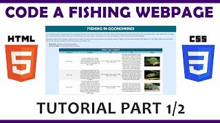 Code a Fishing Web Page Using HTML \u0026 CSS (Part 1/2)