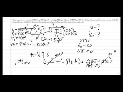 Thermodynamics: Worked example, Nozzle
