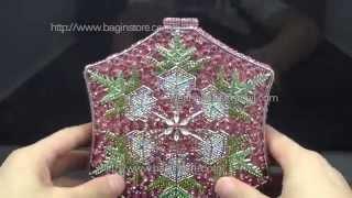 Snowflake Designer Evening Bags UK Discount Price Pink Swarovski Crystals