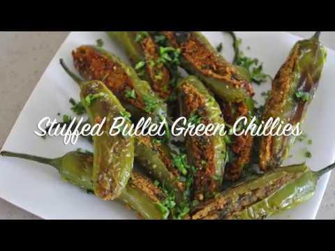 Stuffed Bullet Green Chillies-Besan Ki Bharwan Mirchi-Mirchi Fry Recipe
