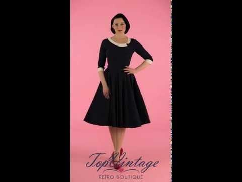TopVintage - Navy Mistress Mad Men Vintage Swing dress