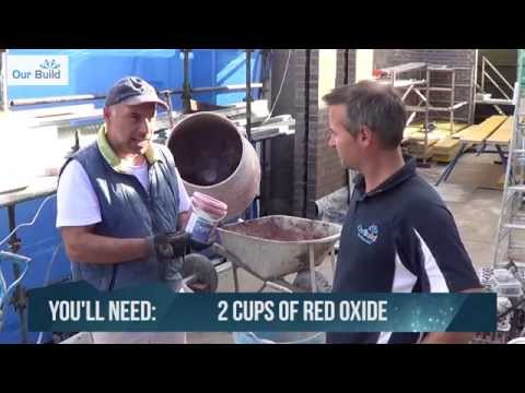 How to mix cement mortar with red oxide for laying bricks.