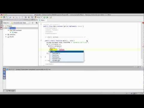 ActionScript as a language for creating JS applications with jQuery support and debugger