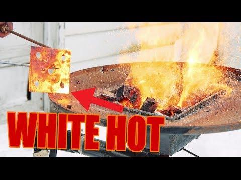 -WHITE HOT- (DIY) Blacksmith Forge (Forge Welding Heat!)