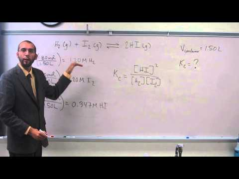 Using Moles of Gas to Determine the Equilibrium Constant (Kc) 001
