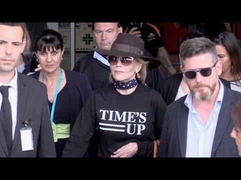 EXCLUSIVE : Jane Fonda wearing Time's Up T Shirt arriving at Nice airport for Cannes Film Festival