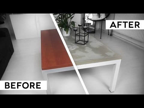 DIY MINIMAL CONCRETE TABLE TOP | IKEA hack