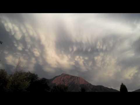 Rare & Amazing Mammatus Clouds Over Mt. Olympus in Utah