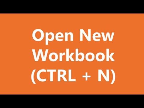 Excel Shortcuts - Open New Workbook