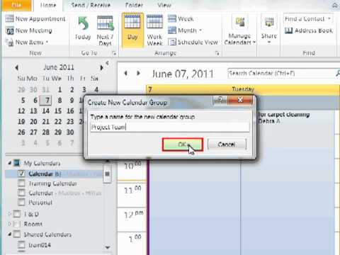 Using Calendar Groups in Outlook 2010