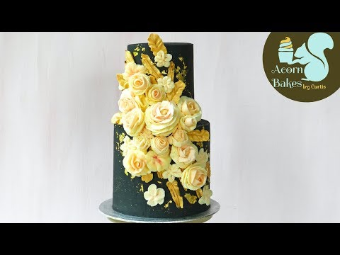 BLACK, GOLD & ROSE BUTTERCREAM FLOWER CAKE   Cake Tutorial  