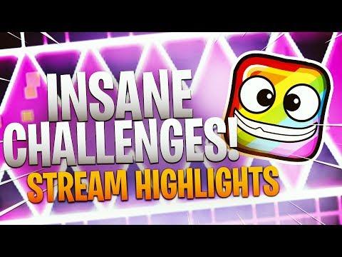 INSANE CHALLENGES!! - Geometry Dash Highlights - Tosh