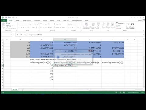 calculate  asin acos acot atan with excel