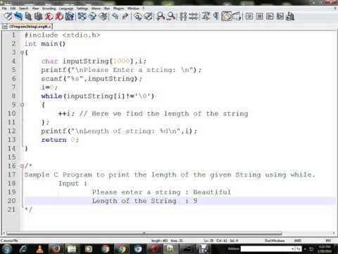 C PROGRAM TO FIND THE LENGTH OF THE STRING USING WHILE