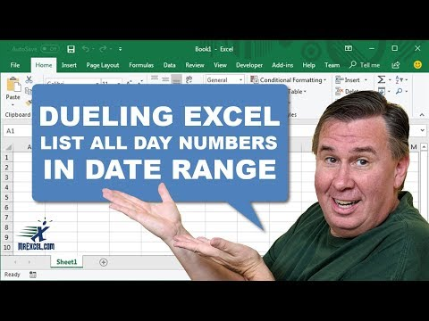 Dueling Excel - List all Day Numbers In a Date Range - Duel 153