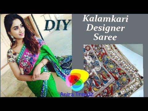 DIY Make your own Designer Saree at Home / Pagal Nilavu Sneha Inspired Kalamkari Saree