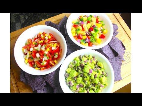 3 Easy Salsa Recipes / Tomato Corn / Avocado / Pineapple Mango