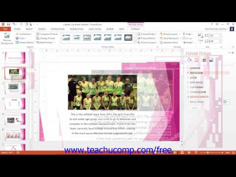 PowerPoint 2013 Tutorial Using the Format Picture Task Pane-2013 Only Microsoft Training Lesson 5.7