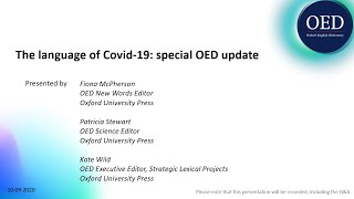 The language of Covid-19: a special OED update