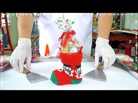 How to make CHRISTMAS Ice Cream Rolls