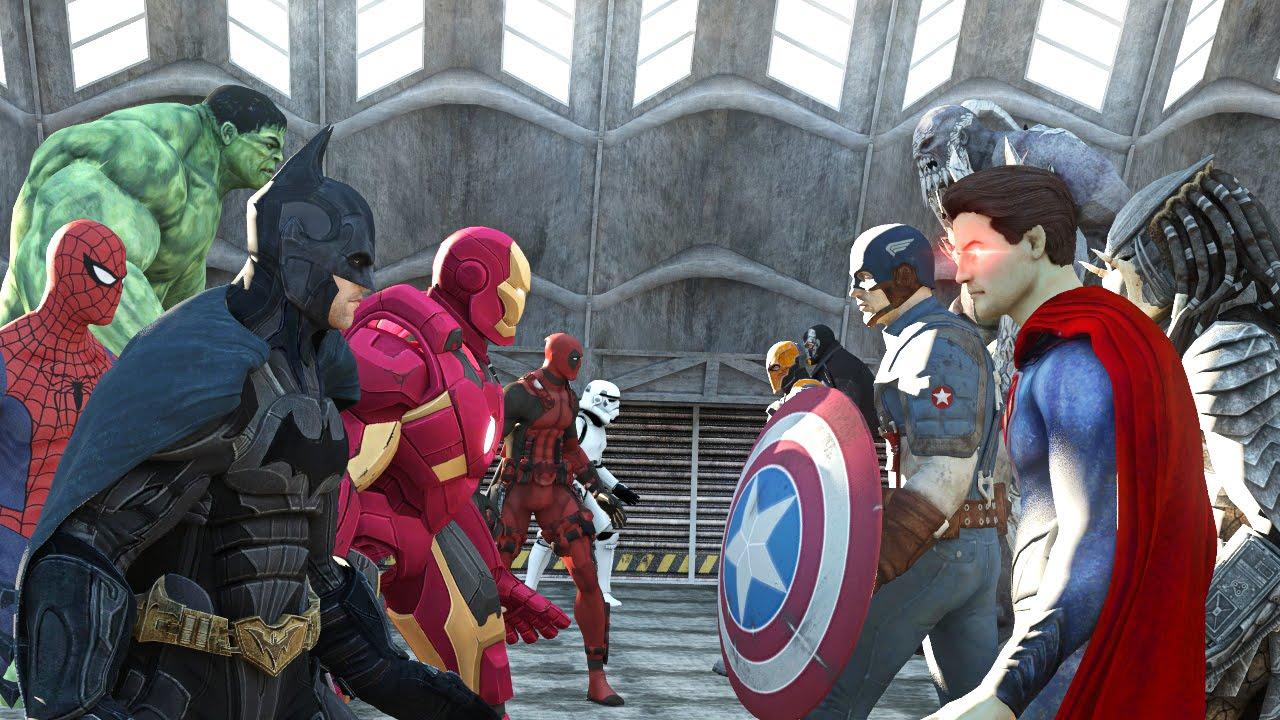 Batman vs Superman vs Captain America vs Ironman vs Hulk vs Deadpool vs Spiderman vs Goku