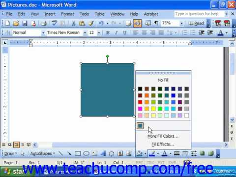 Word 2003 Tutorial Applying Fill Color Microsoft Office Training Lesson 14.4