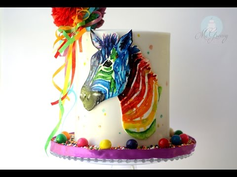 Painting in Edible Watercolor; A Zebra Cake