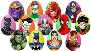 Marvel and Justice League Superhero Play Doh Surprise Eggs with Spiderman Batman \u0026 Hulk