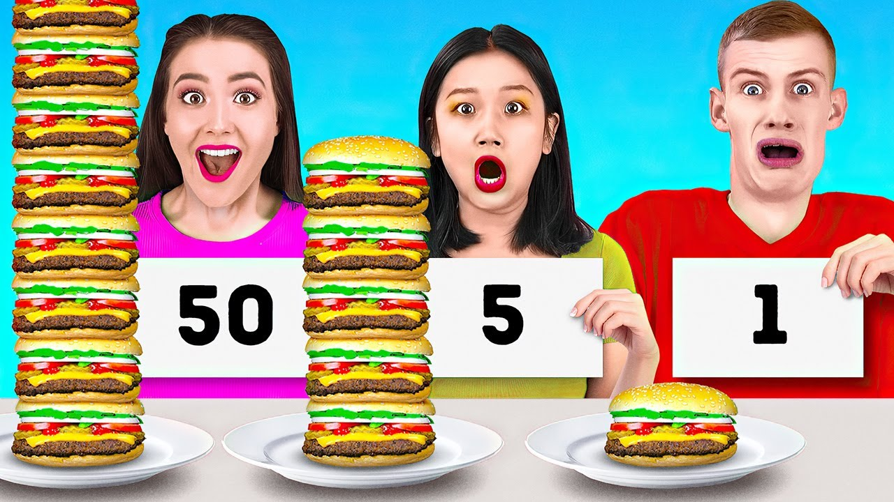 100 LAYERS CHALLENGE! || Extreme 100 Layers Of Burgers Challenge by 123 Go! LIVE