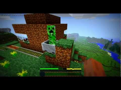 Minecraft 1.8.1 : Creeper riding a minecart! (kinda)