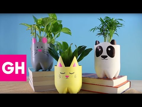 How to Make DIY Animal Planters Out of Soda Bottles | GH