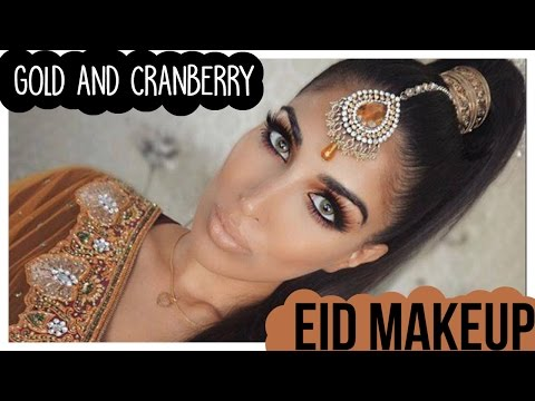 Dramatic Gold and Cranberry Eid Make Up Tutorial